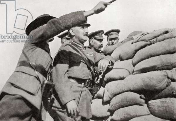 """Lord Kitchener's personal visit to Gallipoli in 1915. Examining the position from the """"Anzac"""" trenches, close to the Turkish lines.  Field Marshal Horatio Herbert Kitchener, 1st Earl Kitchener, 1850 – 1916. British Field Marshal.   From Field Marshal Lord Kitchener, His Life and Work for the Empire, published 1916."""
