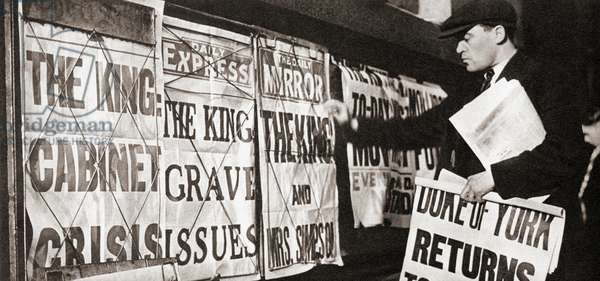 Newspaper headlines in London, December 3, 1936 reporting on the possible abdication of King Edward VIII and his affair with Mrs. Wallis Simpson