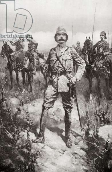 Lord Kitchener on the Veldt, South Africa, shortly before peace was signed on May 31st, 1902 at the end of the Second Boer War.  Field Marshal Horatio Herbert Kitchener, 1st Earl Kitchener, 1850 – 1916. British Field Marshal.  After a drawing by H.W. Koekkoek.   From Field Marshal Lord Kitchener, His Life and Work for the Empire, published 1916.