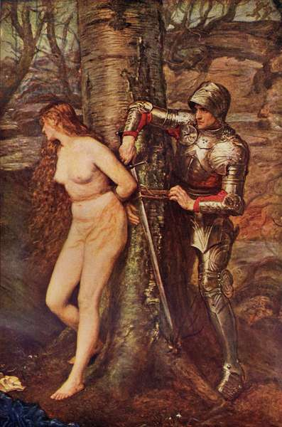 A Knight-errant - Figure of chivalric romance literature, illustration from 'Romance and Legend of Chivalry' by A. R. Hope Moncrieff (colour litho)
