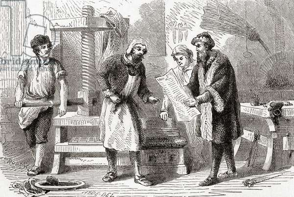 Gutenburg printing the first page of the Bible, 1439, from Ward and Lock's Illustrated History of the World, pub. c.1882