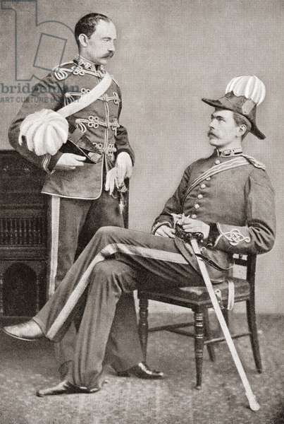 Lord Kitchener, seated, and his eldest brother, Colonel Henry Elliott Chevallier Kitchener, 2nd Earl Kitchener, 1846 – 1937.  British soldier and peer.  Field Marshal Horatio Herbert Kitchener, 1st Earl Kitchener, 1850 – 1916. British Field Marshal.   From Field Marshal Lord Kitchener, His Life and Work for the Empire, published 1916.
