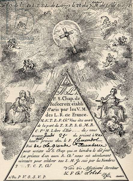 Invitation from the French Chapter of the Freemasons, 1771, from 'The Freemason', by Eugen Lennhoff, published 1932 (litho)