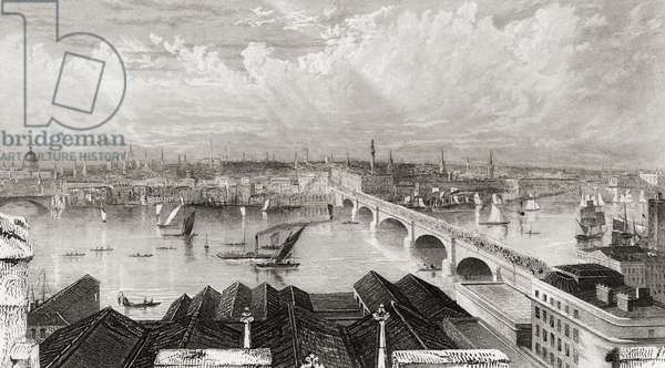 London, England from the tower of Saint Saviours. 19th century print drawn and engraved by W. B. Scott.