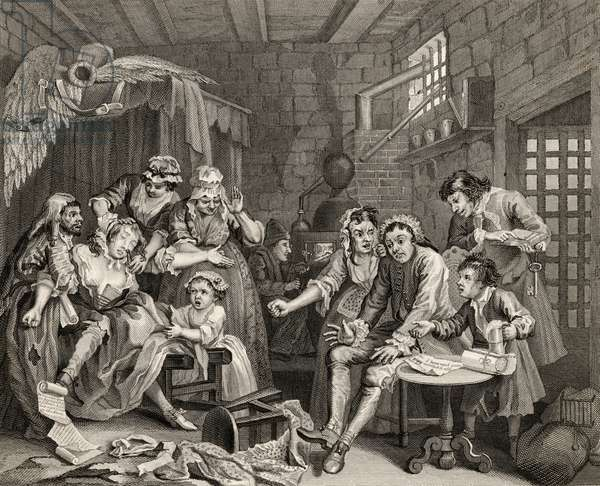 The Prison Scene, plate VII from 'A Rake's Progress', from 'The Works of William Hogarth', published 1833 (litho)