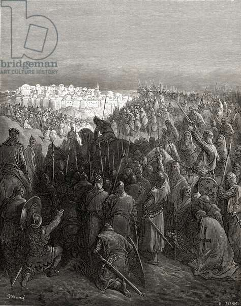 Enthusiasm of the crusaders in Constantinople in 1204, illustration from 'Bibliotheque des Croisades' by J-F. Michaud, 1877 (litho)