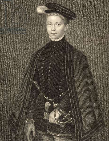 Portrait of Henry Stewart (1545-67) Lord Darnley, from 'Lodge's British Portraits', 1823 (litho)