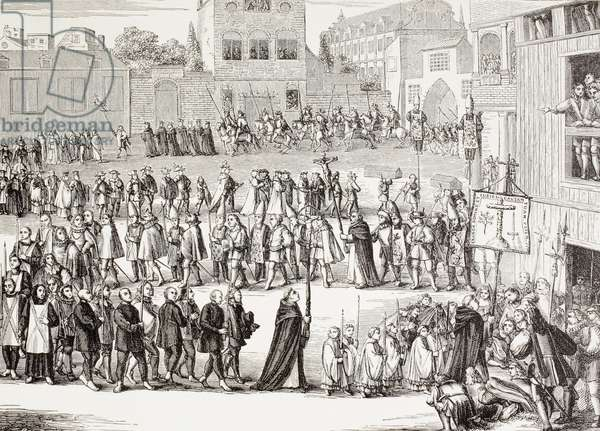 An Auto-da-fe, or Act of Faith, procession in Spain, after a 15th century engraving, from 'Military and Religious Life in the Middle Ages' by Paul Lacroix published London circa 1880