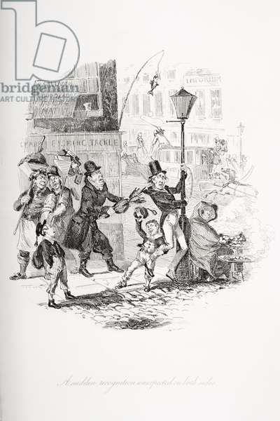 A sudden recognition unexpected on both sides, illustration from `Nicholas Nickleby' by Charles Dickens (1812-70) published 1839 (litho)