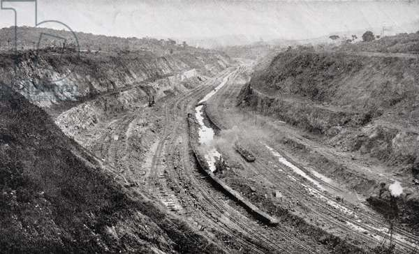Culebra Cut from West Bank showing shovels at work, from 'The Panama Canal' by J. Saxon Mills, published in the early 1900s (b/w photo)