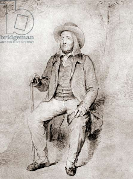 Jeremy Bentham, 1748 - 1832.  British philosopher, jurist, and social reformer.  After the drawing by G.F. Watts.  From Impressions of English Literature, published 1944.
