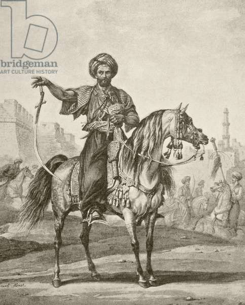 A mounted mamluk in Cairo, from 'Afrika, dets Opdagelse, Erobring og Kolonisation', published 1901 in Copenhagen (litho)