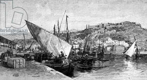 The Harbour, Malaga, Spain, from 'The Picturesque Mediterranean', Volume 3, published by Cassell and Co. Ltd., 1880s-90s (engraving)