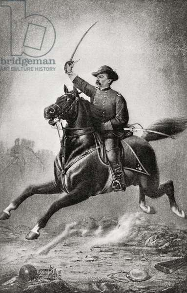 """Romanticization of American civil war cavalryman, from  the book """"The International Library of Famous Literature"""". Published in London 1900. Volume XV."""