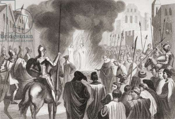 Templars being burnt at the stake (litho)