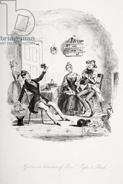 Affectionate behaviour of Messrs. Pyke and Pluck, illustration from `Nicholas Nickleby' by Charles Dickens (1812-70) published 1839 (litho)