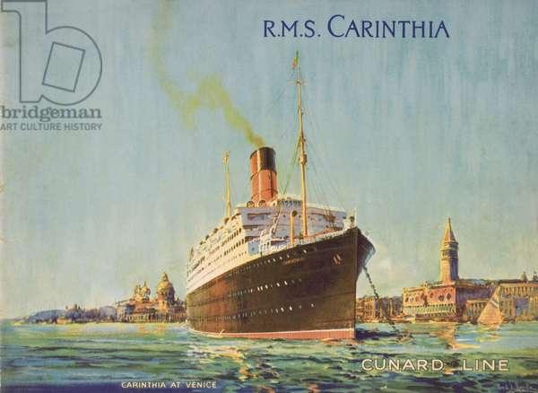 Cunard Line promotional brochure for R.M.S 'Carinthia' c.1926-30 (colour litho)