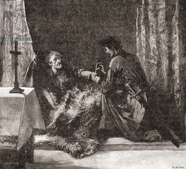 Robert The Bruce's last orders to Sir James Douglas which were to take his embalmed heart on crusade to the Lord's Sepulchre in the Holy Land.   Robert I, 1274 – 1329, aka Robert the Bruce. King of Scots .  From Cassell's History of England, published c.1901