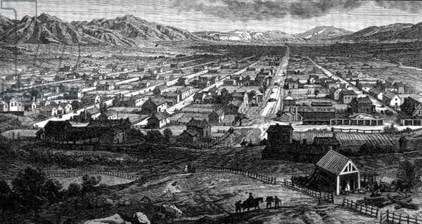 Panoramic View of Salt Lake City, Utah, from 'La Vuelta al Mundo', published in Madrid, 1865 (engraving)