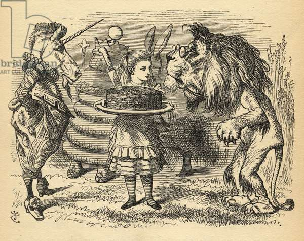 The sharing of the cake between the Lion and the Unicorn, illustration from 'Through the Looking Glass' by Lewis Carroll (1832-98) first published 1871 (litho)