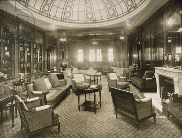 The Library and Writing Room aboard the 'Mauretania', from a Cunard Line promotional brochure, c.1930 (b/w photo)