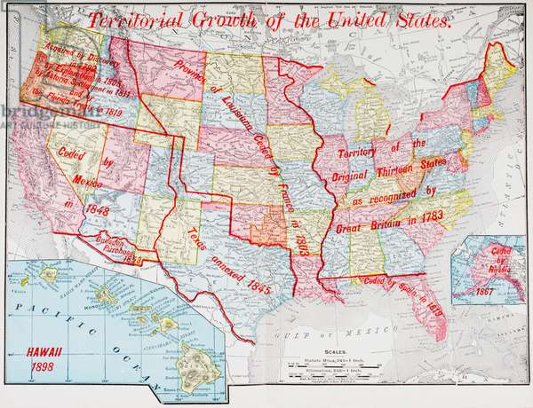 Map from 1898 showing the territorial growth of the United States of America.  From The History of Our Country, published 1900