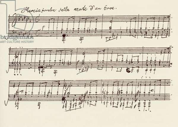 Portion of the Manuscript of Beethoven's A Flat Major Sonata, Opus 26 (pen & ink)