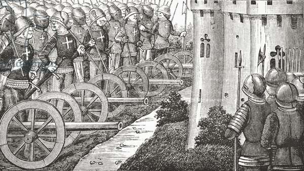 How the Comte de Foix took strong places in Guienne, 1878 (litho)