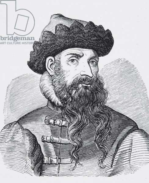 Johannes Gutenberg, from a 16th century engraving (litho)