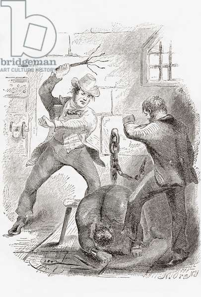 Overseer lashes a manacled slave