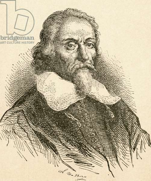 William Harvey,  1578 – 1657.  English physician.  From El Museo Popular published Madrid, 1889
