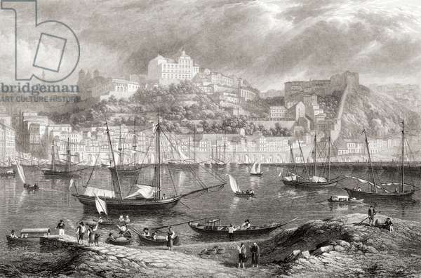 """Oporto from Villa Nova. From the original painting by Lt. Col. Batty F.R.S. from the book """"Select Views of some of the Principal Cities of Europe"""" published London 1832. Engraved by W Miller."""