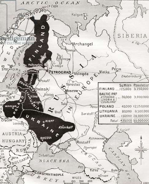 "Map of The Brest-Litovsk ""Peace"". The area shown in black in the map comprises the territories which Russia agreed to surrender as a result of the Brest-Litovsk settlement. The lost provinces include Finland, the Baltic Islands, Poland, Lithuania and the new Ukranian State. The extent of the provinces is shown in inset, the total area forfeited being equal to the whole of Germany and Austria-Hungary, from The Year 1918 Illustrated."