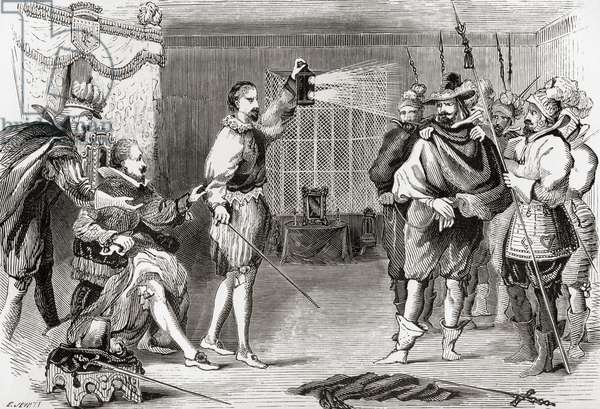 The Gunpowder Plot. Guy Fawkes interrogated by James I and his council in the king's bedchamber, Whitehall. Guy Fawkes, 1570-1606, aka Guido Fawkes, member of a group of provincial English Catholics who took part in The Gunpowder Plot of 1605, aka Gunpowder Treason Plot or the Jesuit Treason, a failed assassination attempt against King James I of England and VI of Scotland. The plot was to blow up the House of Lords during the State Opening of England's Parliament on 5 November 1605. From The History of Progress in Great Britain, published 1866 (b/w engraving)