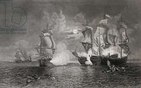 Action between Bonhomme Richard and the Serapis, 23rd September 1779 (engraving)