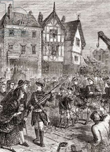 British soldiers enter Boston, America in 1768 to protect and support crown-appointed colonial officials attempting to enforce unpopular Parliamentary legislation.