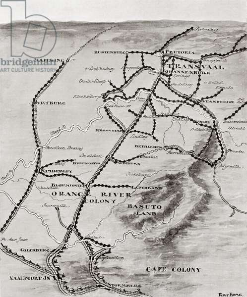 Map of Lord Kitchener's Blockhouse System in South Africa, 1916 (litho)