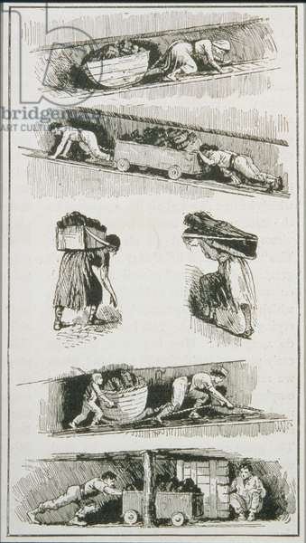 Labourers (including a woman and child) in Coal Mines prior to 1843 (engraving)