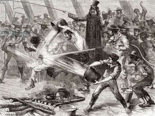 A line crossing ceremony aboard the Simon Bolivar (engraving)