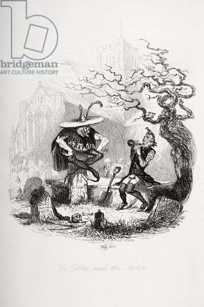 The Goblin and the Sexton, illustration from `The Pickwick Papers' by Charles Dickens (1812-70) published 1837 (litho)
