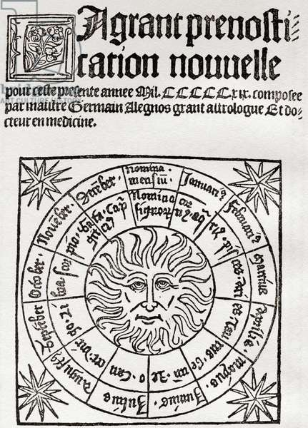 Astrology in the Middle Ages, frontispiece to a 16th century astrological manual.  From Everybody's Book of Fate and Fortune, published 1935.