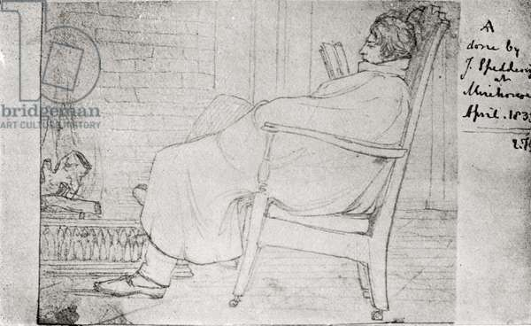 Alfred Lord Tennyson (1809-92) (pen & ink on paper)