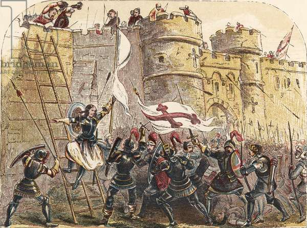 Joan of Arc leads French army against the English defenders of Les Tourelles gate, during the siege of Orleans May 7th, 1429 (chromolitho)