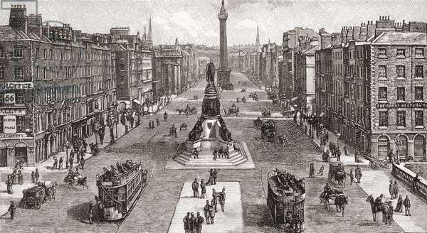 Sackville Street (now O'Connell Street) in 1924, Dublin, Ireland. From Cities of the World, published c.1893.
