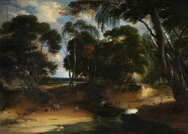 Landscape with forest (oil on canvas)