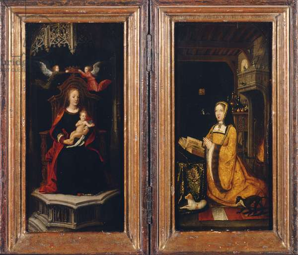 The Virgin and Child with Two Angels (left wing), Margaret of Austria in Worship of the Virgin (right wing) (oil on panel)