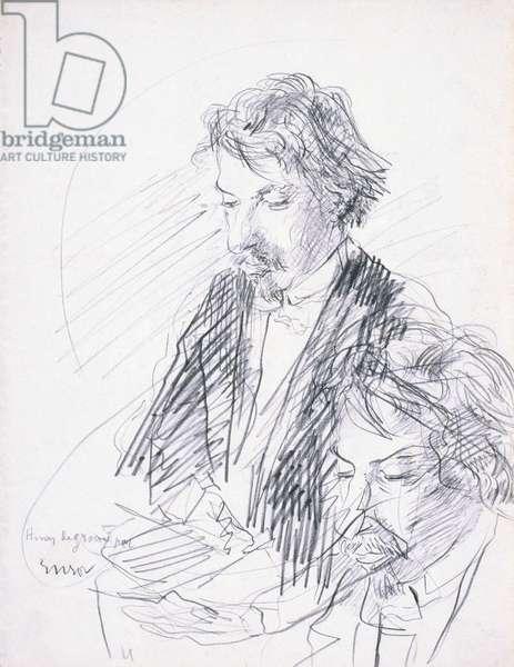 Portrait of the artist, Henry de Groux, 1883 (conte on paper)