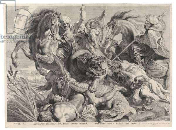 The hunt of the hippo and the crocodile (engraving)