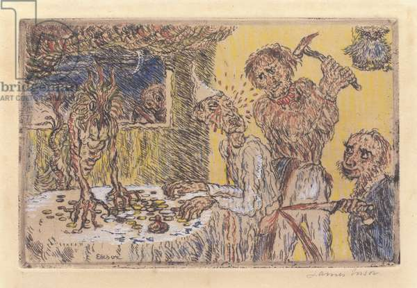 Avarice, 1904 (hand-coloured copper etching)