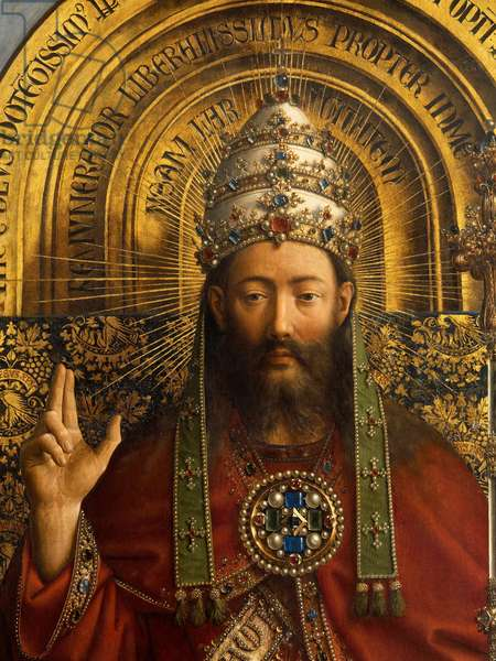 Detail of God the Father, central panel of the Ghent Altarpiece, 1432 (oil on panel) (see 472341, 472324)